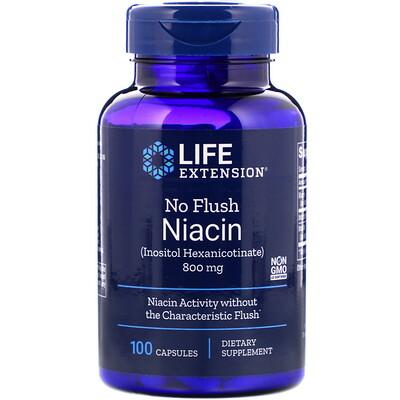 Ниацин, не вызывает покраснений, 800 мг, 100 капсул