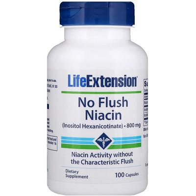 Ниацин, не вызывает покраснения, 800 мг, 100 капсул