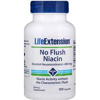 Ниацин, не вызывает покраснения, 800 мг, 100 капсул - фото