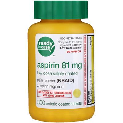 Аспирин, низкая доза с защитным покрытием, 81 мг, 300 таблеток, покрытый кишечнорастворимой оболочкой