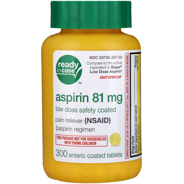 Aspirin, Low Dose Safety Coated, 81 mg, 300 Enteric Coated Tablets
