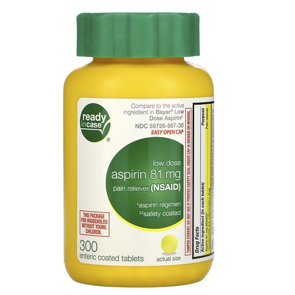 Aspirina, baja dosis recubierta, 81 mg, 300 tabletas con cubierta entérica