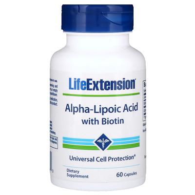 Альфа-липоевая кислота с биотином, 60 капсул альфа липоевая кислота экстра сила 600 мг 60 растительных капсул