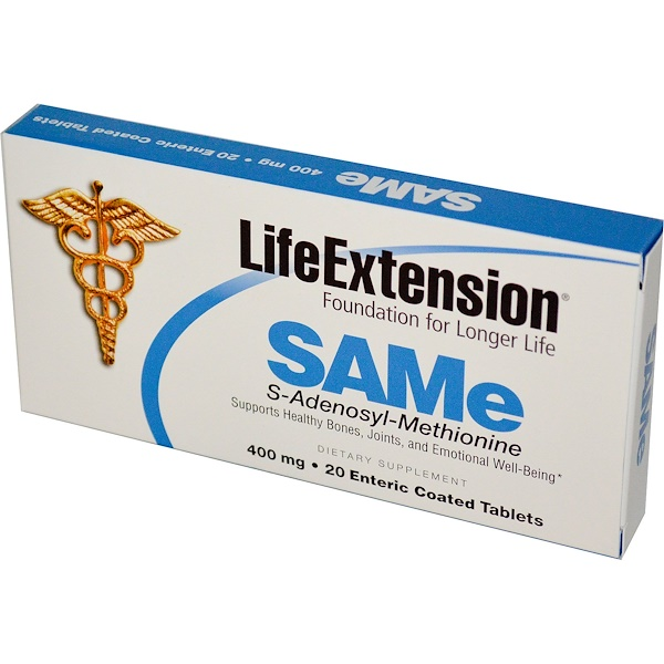 Life Extension, SAMe, S-Adenosyl-Methionine, 400 mg, 20 Enteric Coated Tablets (Discontinued Item)