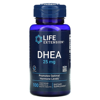 Life Extension, DHEA, 25 mg, 100 Vegetarian Dissolve in Mouth Tablets