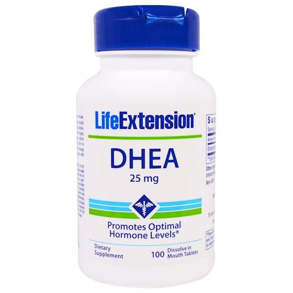 Life Extension, DHEA, 25 mg, 100 입에서 녹는 알약