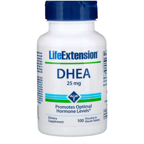 Life Extension, DHEA، 25 ملغ، 100 قرص تذوب في الفم