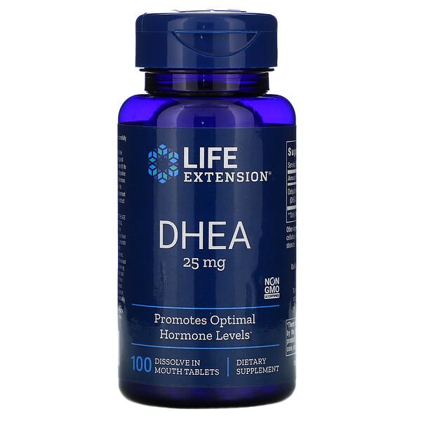 DHEA، 25 ملغ، 100 قرص تذوب في الفم