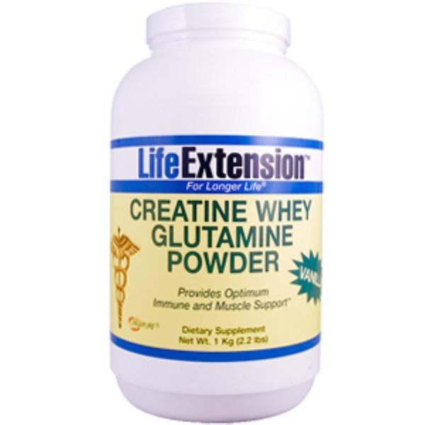 Life Extension, Creatine Whey Glutamine Powder Vanilla Flavor, 1 Kilogram (2.2 lbs) (Discontinued Item)