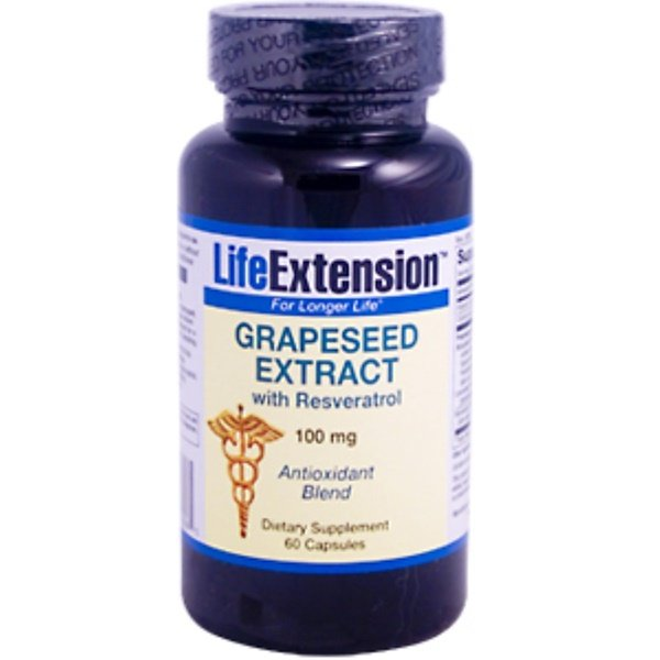 Life Extension, Grapeseed Extract With Resveratrol, 100 mg, 60 Capsules (Discontinued Item)