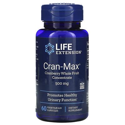 Life Extension Cran-Max, концентрат цельных ягод клюквы, 500мг, 60вегетарианских капсул