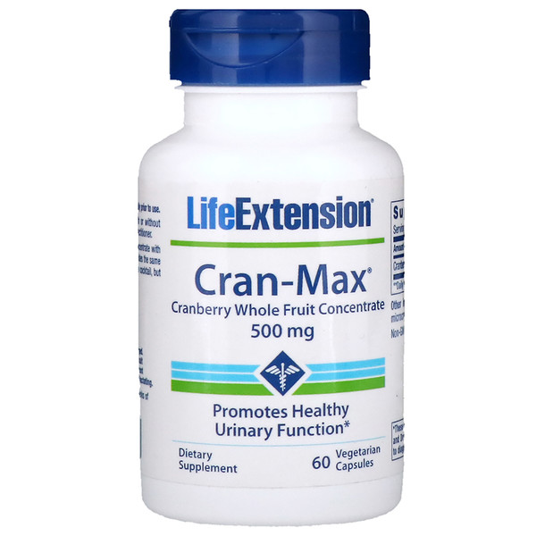 Life Extension, Cran-Max, Cranberry Whole Fruit Concentrate, 500 mg, 60 Vegetarian Capsules