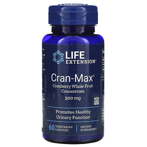 Лайф Экстэншн, Cran-Max, Cranberry Whole Fruit Concentrate, 500 mg, 60 Vegetarian Capsules отзывы покупателей
