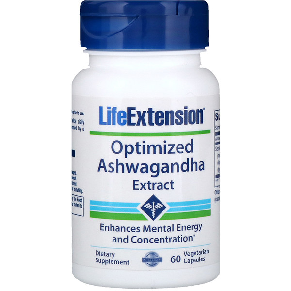 Life Extension, Extracto de ashwagandha (withania somnífera) optimizado, 60 cápsulas vegetarianas