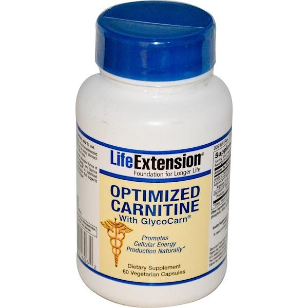 Life Extension, Оптимизированный карнитин с гликокарном (GlycoCarn), 60 вегетарианских капсул (Discontinued Item)