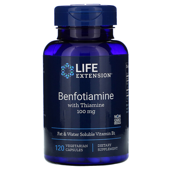 Benfotiamine with Thiamine, 100 mg, 120 Vegetable Capsules