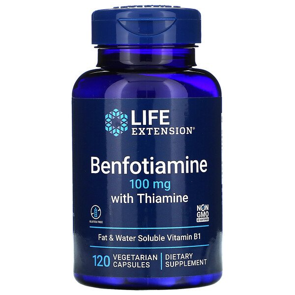 Life Extension, Benfotiamine with Thiamine, 100 mg, 120 Vegetarian Capsules