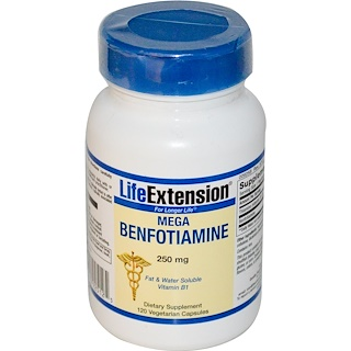 Life Extension, Mega Benfotiamine, 250 mg, 120 cápsulas vegetales