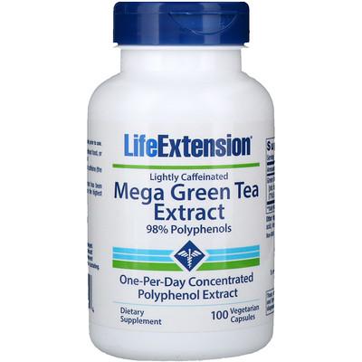 Мега экстракт зеленого чая, небольшое содержание кофеина, 100 растительных капсул