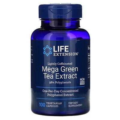 Life Extension Мега экстракт зеленого чая, небольшое содержание кофеина, 100 растительных капсул