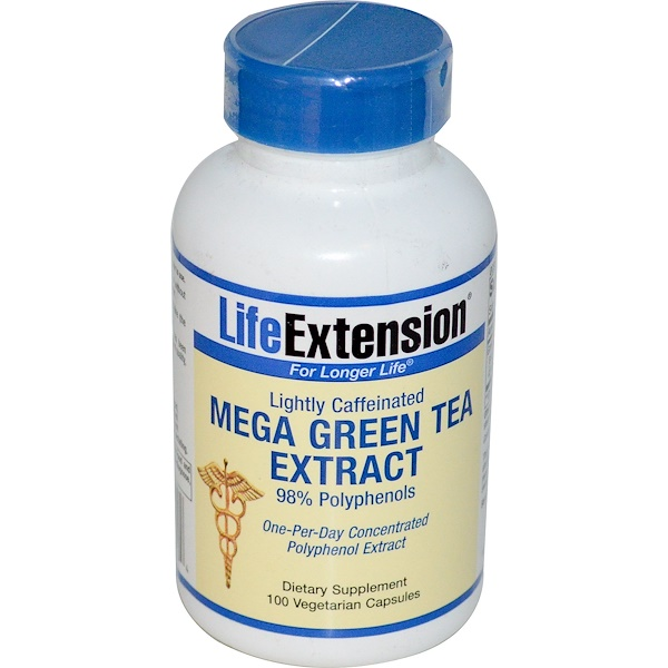 Life Extension, Mega Green Tea Extract, Lightly Caffeinated, 100 Veggie Caps