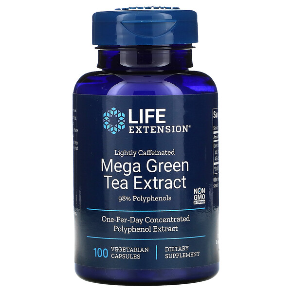 Mega Green Tea Extract, Lightly Caffeinated, 100 Vegetarian Capsules