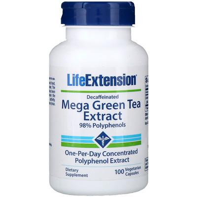 Купить Мега экстракт зеленого чая без кофеина, 100 вегетарианских капсул