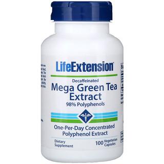 Life Extension, メガ・グリーンティーエキス、カフェイン抜き、100ベジカプセル