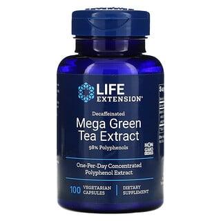 Life Extension, мегаэкстракт зеленого чая, без кофеина, 100вегетарианских капсул