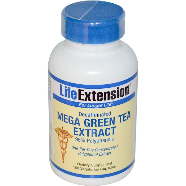 Life Extension, Mega Green Tea Extract, Decaffeinated, 100 Veggie Caps