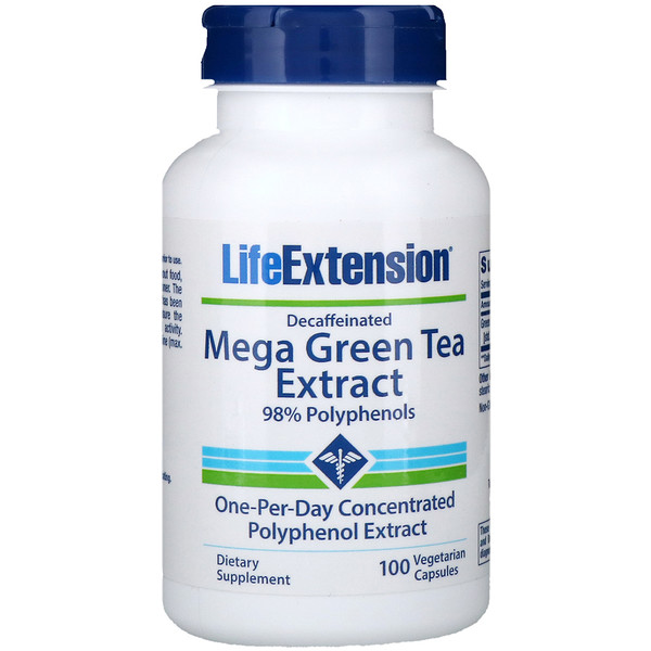 Life Extension, Mega Green Tea Extract, Decaffeinated, 100 Vegetarian Capsules