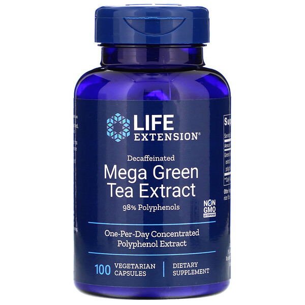 Life Extension, Extracto de té Mega Green, Descafeinado, 100 cápsulas vegetales