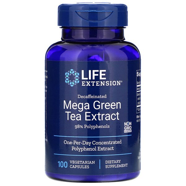 Mega Green Tea Extract, Decaffeinated, 100 Vegetarian Capsules