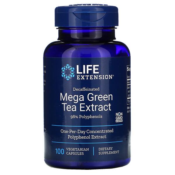 Mega extracto de té verde, Descafeinado, 100cápsulas vegetales