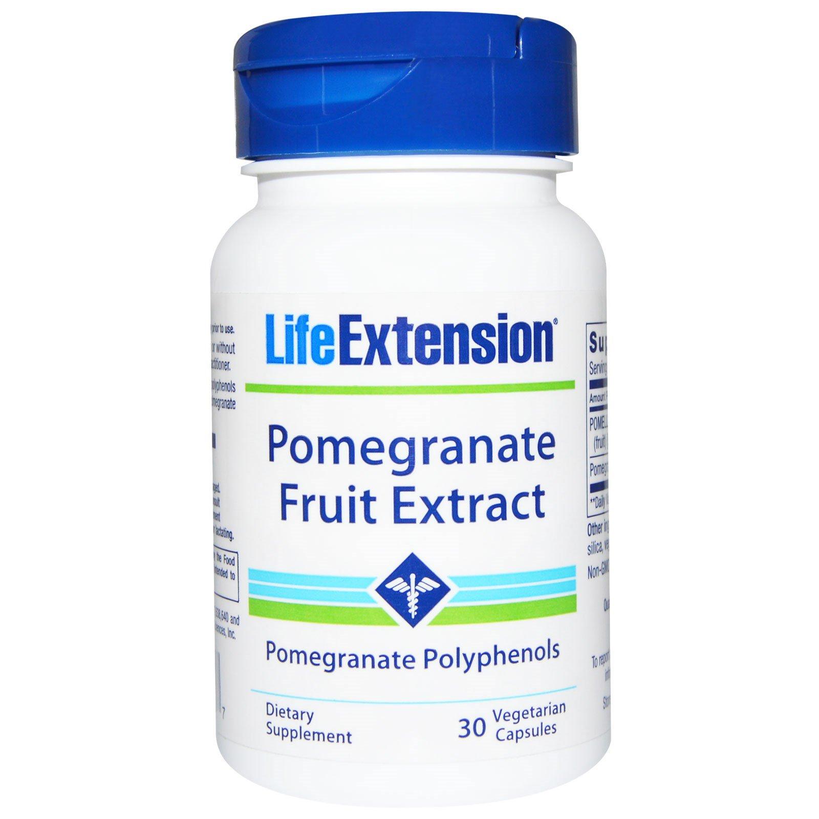 Life Extension, Капсулы с экстрактом граната, 30 капсул на растительной основе