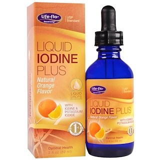 Life Flo Health, Liquid Iodine Plus Liquid Drops, Natural Orange Flavor, 2 fl oz (59 ml)