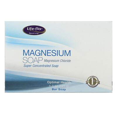 Life-flo Магниевое мыло, магния хлорид, суперконцентрированное кусковое мыло, 4, 3 унции (121 г)  - Купить