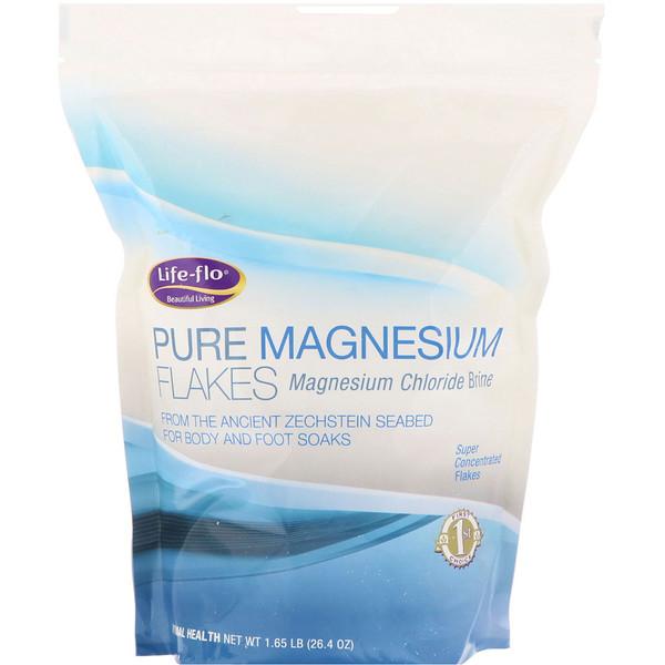 Life-flo, Copos de magnesio puro, salmuera de cloruro de magnesio 1.65 libras (26.4 oz)