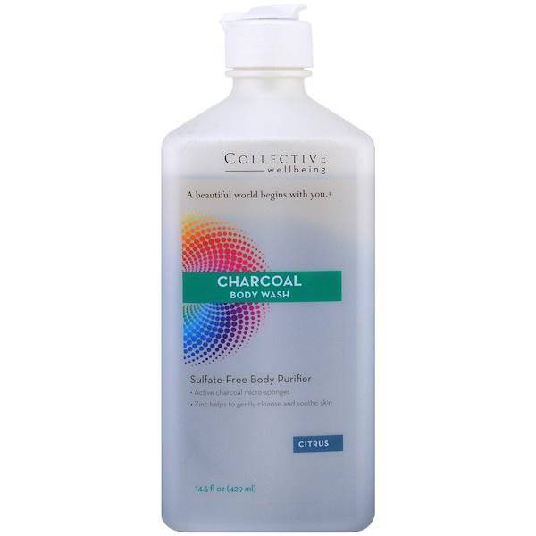 Life Flo Health, 活炭沐浴葉,不含硫酸鹽的身體洗劑,柑橘,14、5液盎司(429毫升)