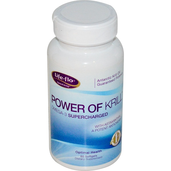 Life Flo Health, Power of Krill, Omega-3 Supercharged, 60 Softgels