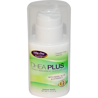 Life Flo Health, DHEA Plus, Highly Absorbent Body Cream, 2 oz (57 g)