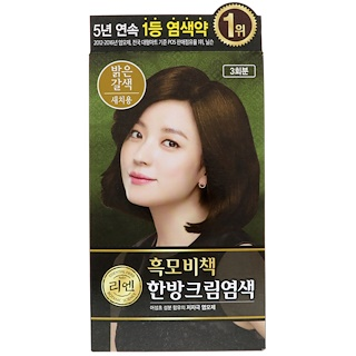 LG Household & Health Care, ReEn, Hair Dye, Light Brown, 3 Treatments