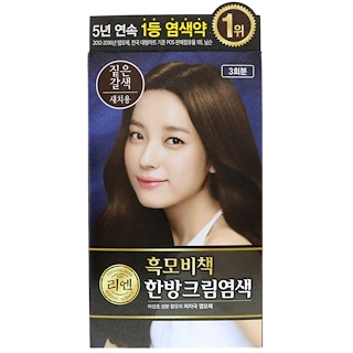 LG Household & Health Care, ReEn, Hair Dye, Deep Brown, 3 Treatments