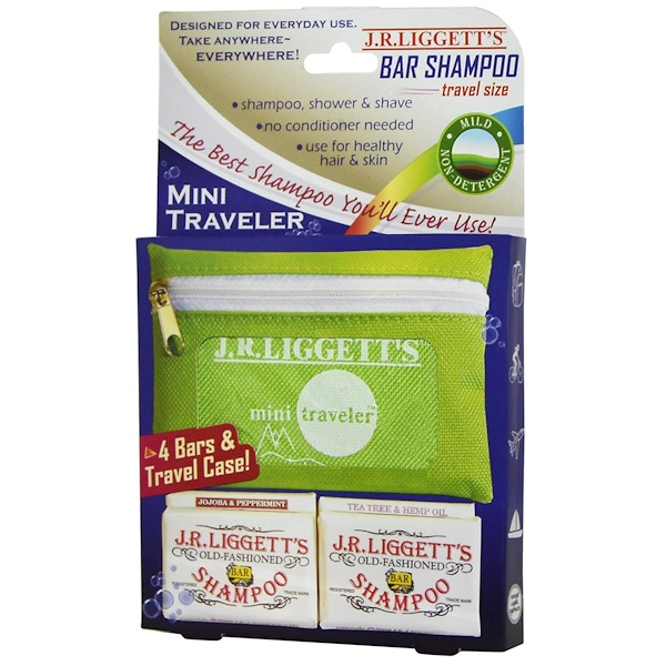 J.R. Liggett's, Bar Shampoo, Travel Size, 4 Bars & Travel Case (Discontinued Item)