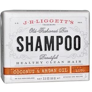 J.R. Liggett's, Традиционный шампунь-мыло, с кокосом и аргановым маслом, 3.5 унций (99 г) инструкция, применение, состав, противопоказания