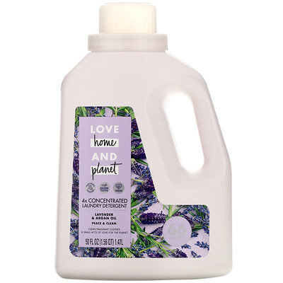 Love Home & Planet 4x Concentrated Laundry Detergent, Lavender & Argan Oil, 50 fl oz (1.47 l)
