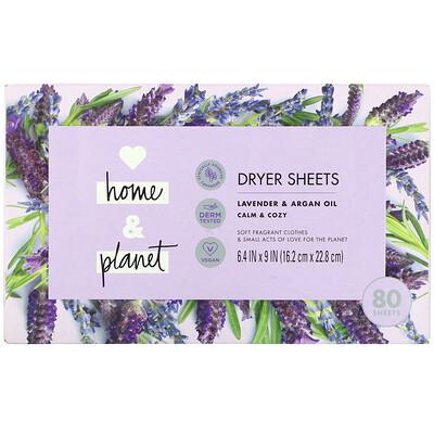 Love Home & Planet Dryer Sheets, Lavender & Argan Oil, 80 Sheets