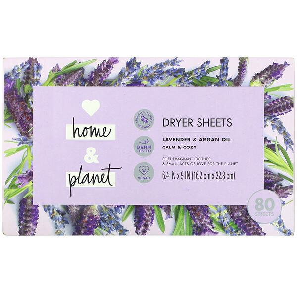 Love Home & Planet, Dryer Sheets, Lavender & Argan Oil, 80 Sheets