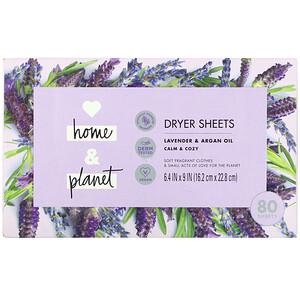 Love Home & Planet, Dryer Sheets, Lavender & Argan Oil, 80 Sheets отзывы