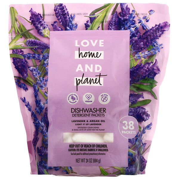 Love Home & Planet, Dishwasher Detergent Packets, Lavender & Argan Oil, 38 Packets, 24 oz (684 g) (Discontinued Item)